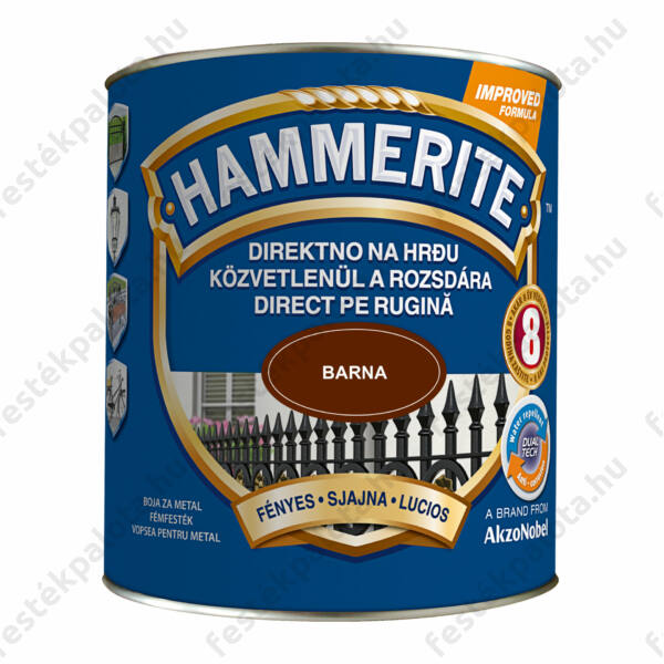 Hammerite fémfesték 2,5 l fényes barna